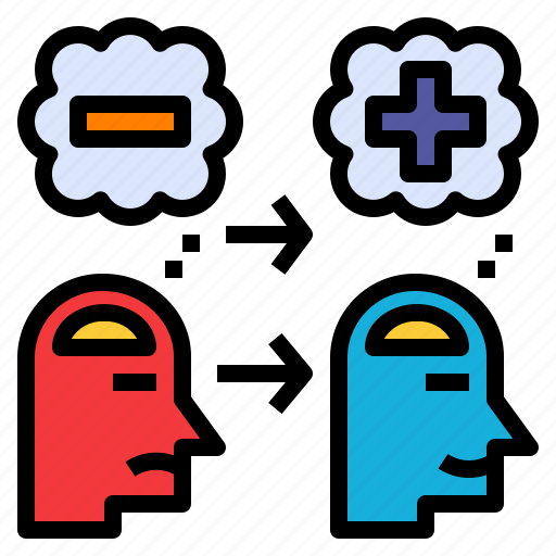 Change, negative, positive, shift, think, transform icon