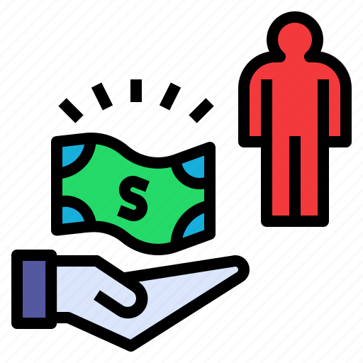 employ, give, hire, money, receive icon