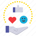 give, good, heart, like, receive, smile icon
