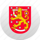 country, finland, state, state emblem icon