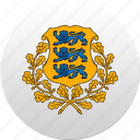 country, estonia, estonian, state, state emblem icon