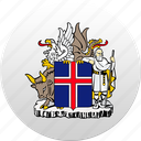 country, iceland, state, state emblem icon