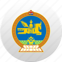 country, mongolia, mongolian, state, state emblem icon