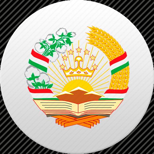 country, state, state emblem, tajikistan icon