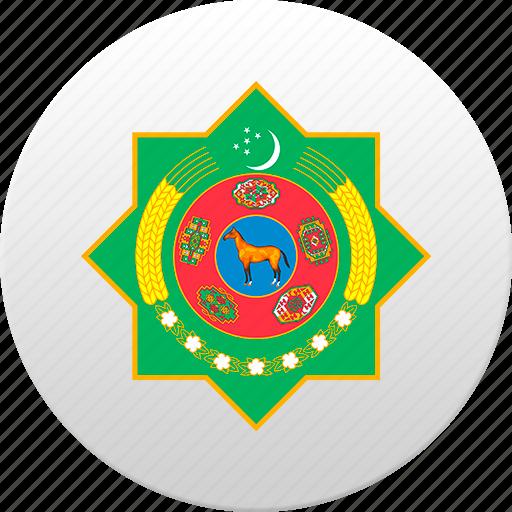 country, state, state emblem, turkmen, turkmenistan icon