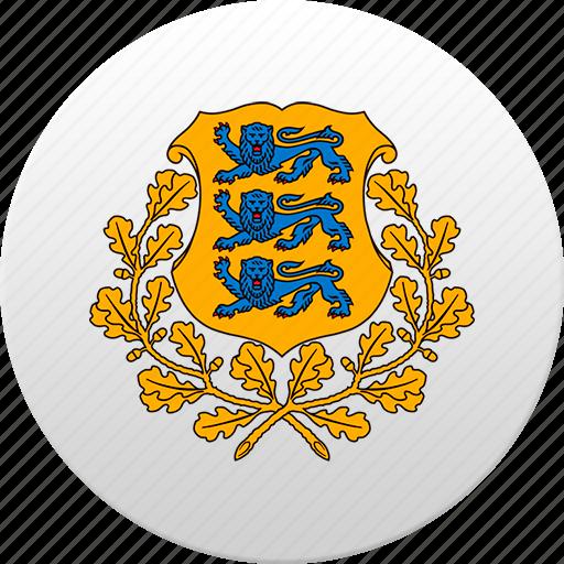 country, estonia, estonian, state, state emblem icon