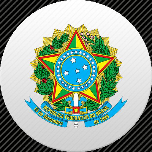 brazil, brazilian, country, state, state emblem icon