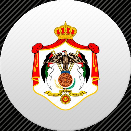 country, jordan, jordania, jordanian, state, state emblem icon