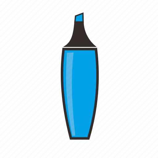 blue, highlighter, ink, krs, marker, school, stationary icon