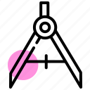 draw, geometry, diameter, divider, compass, geometric icon