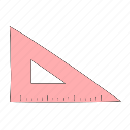 measure, ruler, triangle, triangular icon
