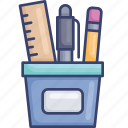 cup, office, ruler, stationery, supplies, toolbox, tools icon