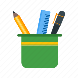 cup, glass, holder, office, pen, pencil, stationery icon