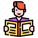 avatar, book, education, man, people, reading, student