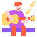 acoustic, guitar, hobby, man, musical, people, play