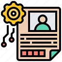 application, documentation, form, information, profile icon