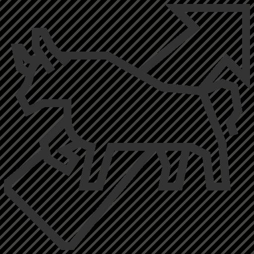 analytics, bull, graph, investment, statistics, stock, trend icon