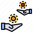 buy, commerce, exchange, give, hand, sell, trade icon