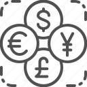 coin, currency, dollar, exchange, foreign, money, stock icon