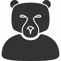 bear, boss, grizzly head, manager, person, predator, stock trader icon
