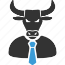 boss, bull, business, horned, manager, power, stock trader icon