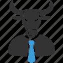 boss, bull, business, horned, manager, power, stock trader