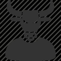 boss, bull, business, horned, manager, power, stock trader icon
