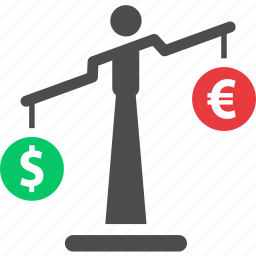balance, currency, dollar, euro, finance, money, scale icon