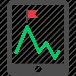finance, goal, graph, growth, peak, revenue, stock icon