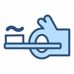 bathroom, dentist, hygiene, thumbs up, toothbrush, toothpaste icon
