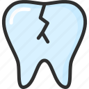 crack, dental, dentist, stomatology, teeth, tooth icon