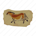 animal, drawing, horse, period, prehistoric, rock, stone age icon