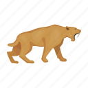 animal, period, prehistoric, saber-toothed tiger, stone age icon