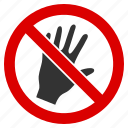 do not touch, forbidden, no hand, palm, prohibition, risk, warning icon