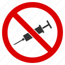 forbidden, no injection, not vaccine, restrict, stop drugs, syringe, vaccination icon
