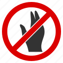 business, hand, illegal, no manage, palm, stop, warning icon