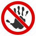 do not touch, forbidden, imprint, no hand, palm, prohibition, stop icon
