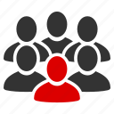 auditory, collective, community, crowd, men, people, user group icon
