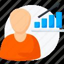 analytics, business, businessman, chart, graph, report, statistics icon icon