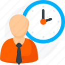 clock, male, man, time, user icon icon