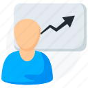 analysis, business, chart, graph, growth, statistic, user icon icon