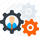 employee, gear, management, profile, settings, user icon icon