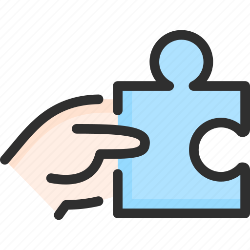 hand, hold, marketing, piece, puzzle, strategy icon