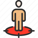 man, marketing, place, stand, strategy, target icon