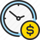 clock, coin, dollar, marketing, money, strategy, time icon