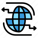 arrow, communication, connect, globe, internet