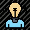 bulb, idea, light, person, user icon