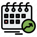 appointment, arrow, calendar, date, schedule icon