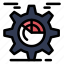 chart, cog, gear, seo, setting icon