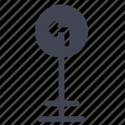 arrow, elements, left, road, street, turn icon